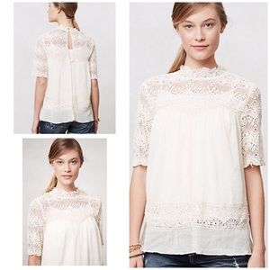 Anthropologie Cassis Peasant Top Lace Crochet XS S
